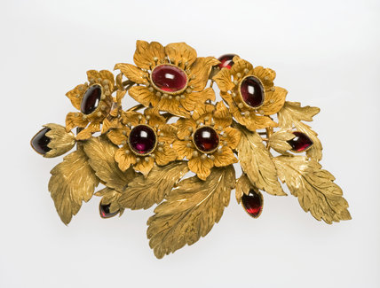 Gold Brooch, set with Cabochon Cut Garnets, French