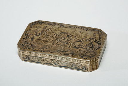 Silver Box, Decorated with a Chinoiserie Vignette, by B.K