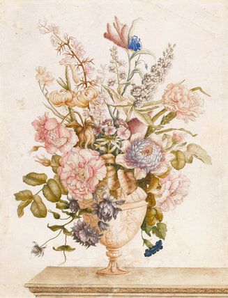 Flowers in a vase on a marble ledge, by Nicolas Robert