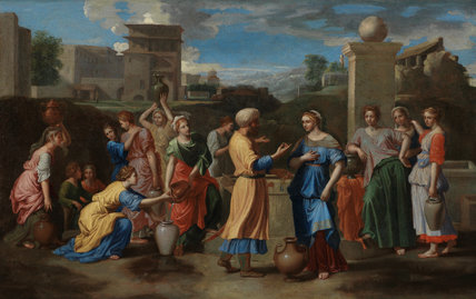 Rebecca and Eliezer at the well, after Nicolas Poussin