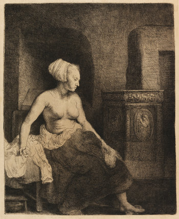 Woman sitting half dressed beside a stove, by Rembrandt
