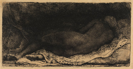 Woman lying on a bed, by Rembrandt