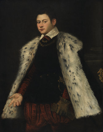 Young man in a fur cloak, by Tintoretto (workshop)