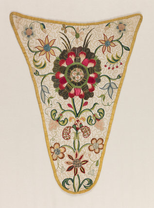 English linen stomacher embroidered with flowers