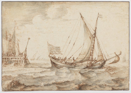 Sailboats off a jetty in a breeze, Cornelis Claesz. van Wieringen