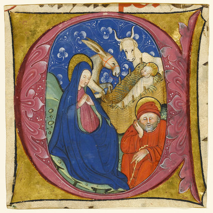 Historiated initial with the Nativity