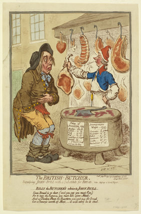 The British Butcher, supplying John Bull with a substitute for Bread