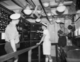 The missile loading control position in HMS GIRDLE NESS, November 1958.
