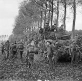Infantry of 51st Highland Division and Sherman tanks near Udenhout, Holland, 29 October 1944.