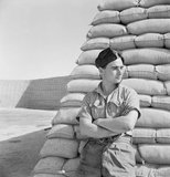 Cecil Beaton portrait photograph of a Royal Air Force officer in the Western Desert, 1942.