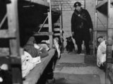 Rip' the dog and ARP Warden Angelus visit an air raid shelter in Poplar, London, December during 1941.