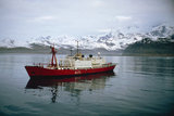 The Ice Patrol Ship HMS ENDURANCE at Cumberland Bay, South Georgia, 25 May 1982.