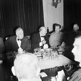Winston Churchill with President Roosevelt and Marshal Stalin at a dinner party at the British Legation in Tehran on the occasion of Churchill's 69th birthday, 30 November 1943.