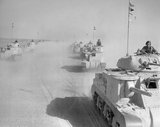 Grant tanks of 5th Royal Tank Regiment on the move in the Western Desert, 17 February 1942.