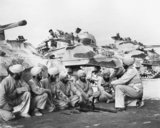 Machine gun maintenance instruction for Sherman tank crews of the Scinde Horse Regiment, part of the Indian 31st Armoured Division in Iraq, March 1944.