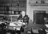 Winston Churchill makes his VE Day broadcast to the British people from the Cabinet Office in Whitehall, 8 May 1945.