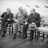 Canadian Prime Minister Mackenzie King, with President Franklin D Roosevelt, and Winston Churchill during the Quebec Conference, 18 August 1943.