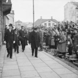 Winston Churchill being greeted by local people in Reykjavik, during his visit to Iceland on his way home from the Atlantic Conference with President Roosevelt, 19 August 1941.