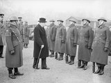 Winston Churchill inspects the 1st American Squadron of the Home Guard on Horse Guards Parade, London, 9 January 1941.