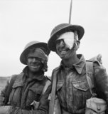 Two wounded soldiers from the Durham Light Infantry during the Mareth line battle in Tunisia, March 1943.