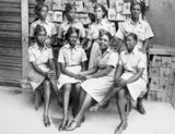 A group of ATS (Auxiliary Territorial Service) clerks in the storeroom of the Trinidad Base Command, Port of Spain, Trinidad, 1945.