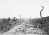 The road to Guillemont viewed from Waterlot Farm, 1916. In the words of the official history it was 'straight, desolate, and swept by fire.'