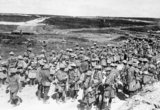 Roll Call of the 2nd Battalion, The Seaforth Highlanders, on the afternoon of the first day of the Battle of the Somme near Beaumont Hamel. The insignia on their sleeves indicates that they were part of the attacking force.