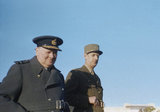 Winston Churchill with General de Gaulle during an inspection of French troops at Marrakesh in Morocco, January 1944.