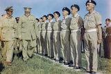 Winston Churchill inspecting men of the 4th Queen's Own Hussars at Loreto aerodrome, Italy, 25 August 1944.