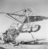 The Western Desert 1942: The tail skeleton of an aircraft abandoned at a former Italian aerodrome near Sollum.