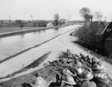 British infantry holding the line of a canal near the village of Merviller, 12 April 1918.