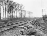 Men of 31st Division man a Lewis gun post beside a railway line near Merris during the Battle of Hazebrouck, 1918.