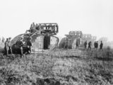 Mark V tanks going forward near Bellicourt for battle of the St Quentin Canal 1918.