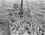 Men of the Lancashire Fusilier Brigade, 29th Division, before disembarking at W. And V. Beaches. Gallipoli May 5th - 6th, 1915.