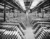 The interior of the filled shell store at the National Shell Filling Factory at Chilwell, Nottinghamshire, 15 May 1917.