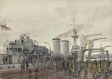 "Stettin, New Year 1919 : British prisoners homeward bound boarding ""HMS Concord"""