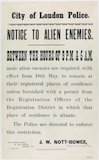 CITY OF LONDON POLICE. NOTICE TO ALIEN ENEMIES