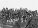 Working party of British troops on muddy ground near Bernafay Wood, Somme, November 1916