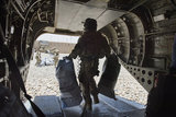 Chinook helicopter delivering mail to a Forward Operating Base, Helmand, Afghanistan, 2013