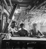 Royal Indian naval ratings on the mess deck of their ship, India, 1944