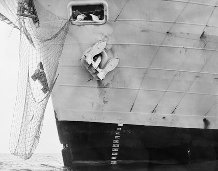 Damage to HMS ARK ROYAL after a collision a Russian KOTLIN guided missile destroyer off Crete, November 1970.