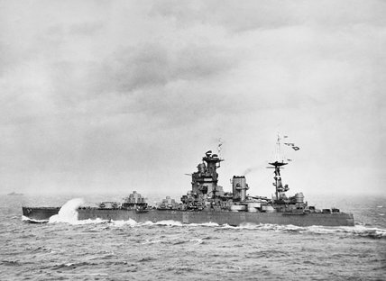 HMS NELSON at sea in the Firth of Forth, September 1940.