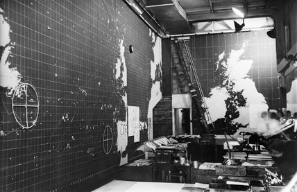 The Western Approaches Operations Room at Derby House, Liverpool, from where the Battle of the Atlantic was controlled, April 1945.