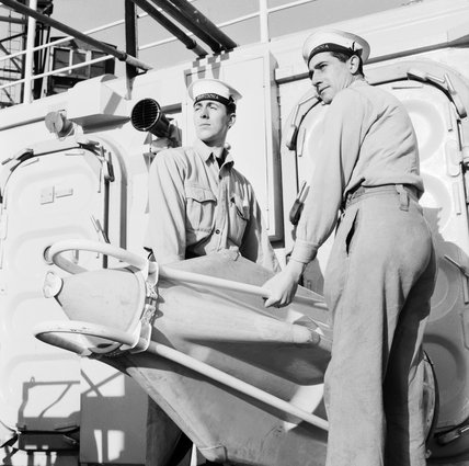 Handling a Seacat missile on board HMS CORUNNA, Rosyth, February 1962.