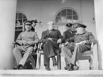 Joseph Stalin, Franklin D Roosevelt and Winston Churchill on the veranda of the Soviet Legation in Teheran, during the first 'Big Three' Conference, November 1943.