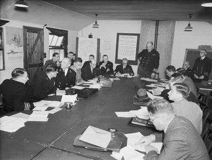 A convoy conference in progress, August 1942.
