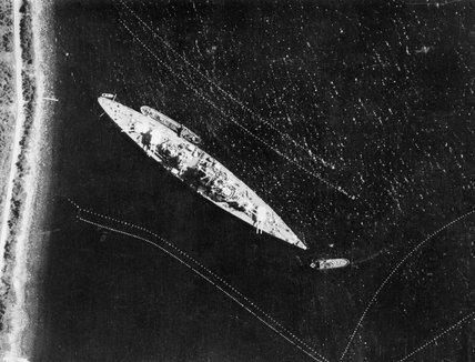 Aerial reconnaissance photo of the German battleship Tirpitz moored off Bogen in Narvik Fjord, Norway, 17 July 1942.
