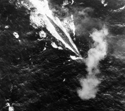 The Italian submarine REGINALDO GIULIANI under machine-gun attack from a Short Sunderland of No. 10 Squadron RAAF in the Bay of Biscay, 1 September 1942