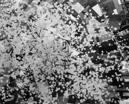 A reconnaissance photograph of the heavily-bombed German V-1 flying-bomb assembly and launch complex at Siracourt in France, prior to the final attack on the site by 17 Avro Lancasters of No. 617 Squadron on the afternoon of 25 June 1944.
