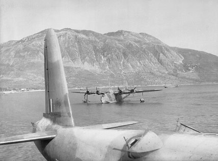 Short Sunderland Mk Is of Nos. 228 and 230 Squadrons RAF moored in Messinia Bay off Kalamata while evacuating RAF personnel from Greece, 29 April 1941.